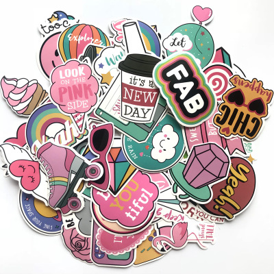 60Pcs Vsco Girls sticker PVC Waterproof Kawaii pink fun Cool hydro flask stickers for laptop