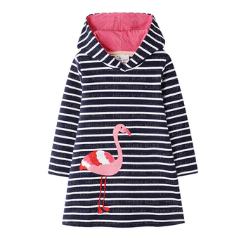 Baby girls100%cotton  hoodie fashionable winter dress flamigo inbroidery boutique fall clothes
