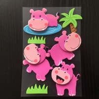 Factory eva material child room wall foam cartoon hippo sticker