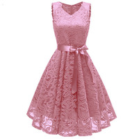 Sleeveless V-neck Women elegant Lace dress Lady Summer dress S,M,L,XL,XXL