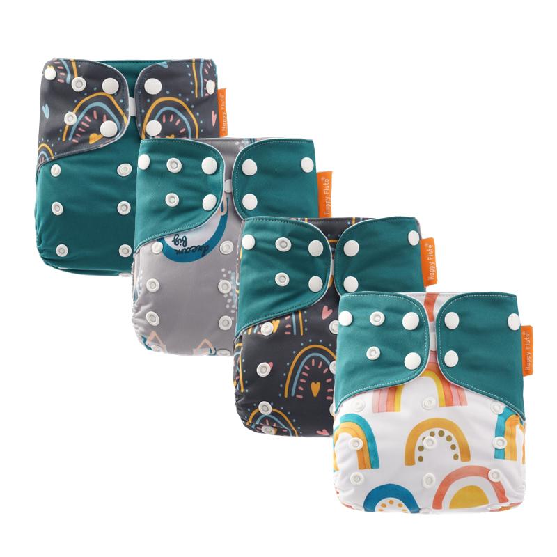 Happy flute 4 pack baby Cloth Diaper New print reusable  pocket cloth diaper wholesaler, Colorful