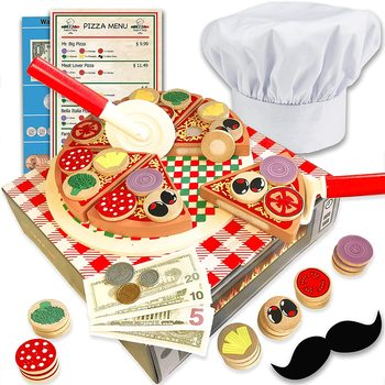 Hot selling pretend play kitchen wooden cutting pizza game wooden food pizza set toys for toddler