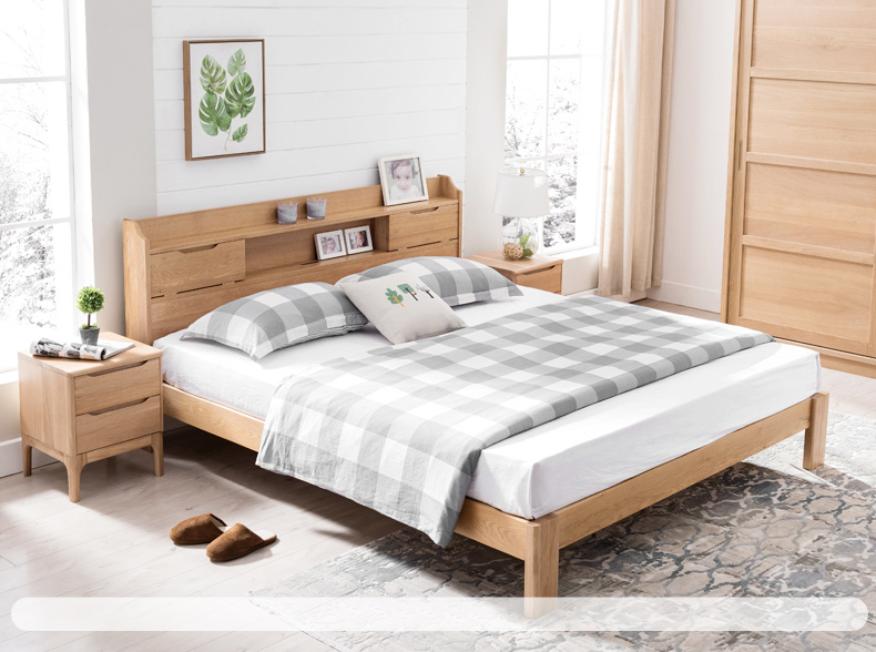 product-Bedroom set wooden bed furniture multifunctional wood bed queen size practical solid wood be-1