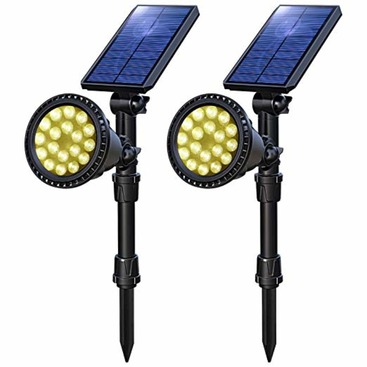 Solar Color Changing Lights,Outdoor RGB Solar Landscape Spotlights Waterproof Christmas LED Spot Light with 9 Lighting Modes LED