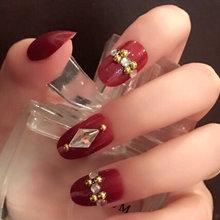 Лучший Лидер продаж 24 шт./компл. поддельные накладные ногти с украшением в виде кристаллов отделка верха свадебное платье невесты для Неил а...(Китай)