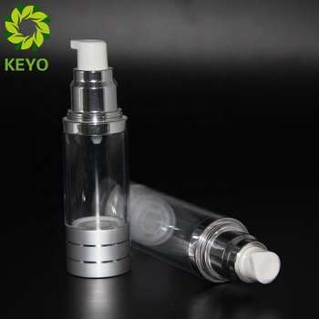 Glass bottle 2 oz airless pump bottle with transparent color