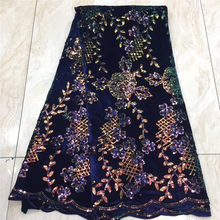 Фиолетовая Высококачественная африканская бархатная кружевная ткань с пайетками, французская кружевная ткань с вышивкой, фатиновая круже...(Китай)