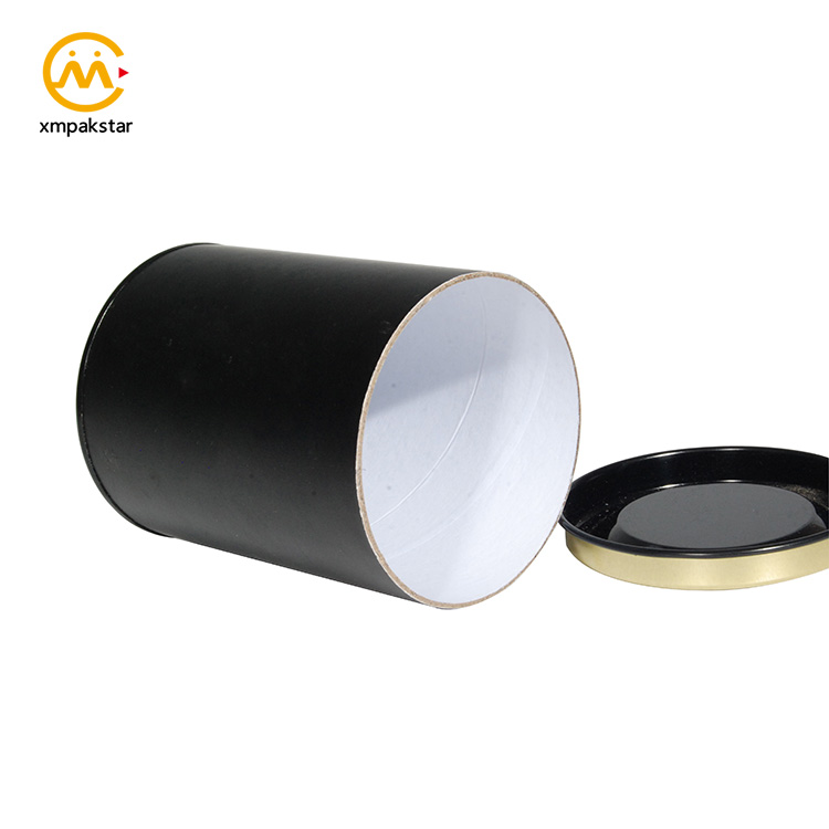Customizable luxury sturdy black paper cardboard round container box with hot stamping logo