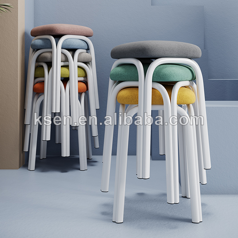 small square metal classic stool chair stackable KC-C0369
