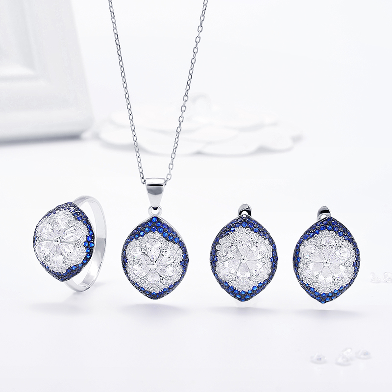 여성 웨딩 925 Sterling Silver Blue CZ Jewelry Set