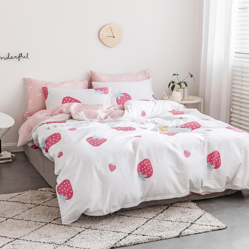 Kit romântico e rosa doce de verão macio e confortável cama tampa da folha da colcha