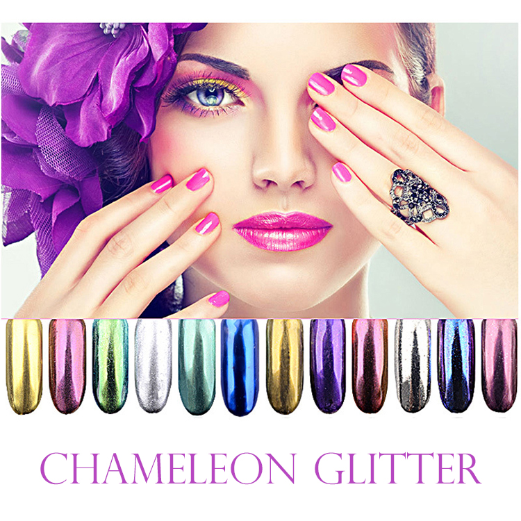 2019 new product chameleon <strong>glitter</strong> 12 colors shifting <strong>glitter</strong> color <strong>nail</strong> art <strong>glitter</strong> pigment <strong>powder</strong>