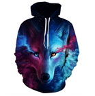 Custom Autumn And Winter Domineering 3D Two Sides Wolf Printed Loose Pocket Couple Hoodie