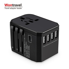 Fashion portable world universal travel adapter with four usb and type-c smart USB charger electrical plug socket