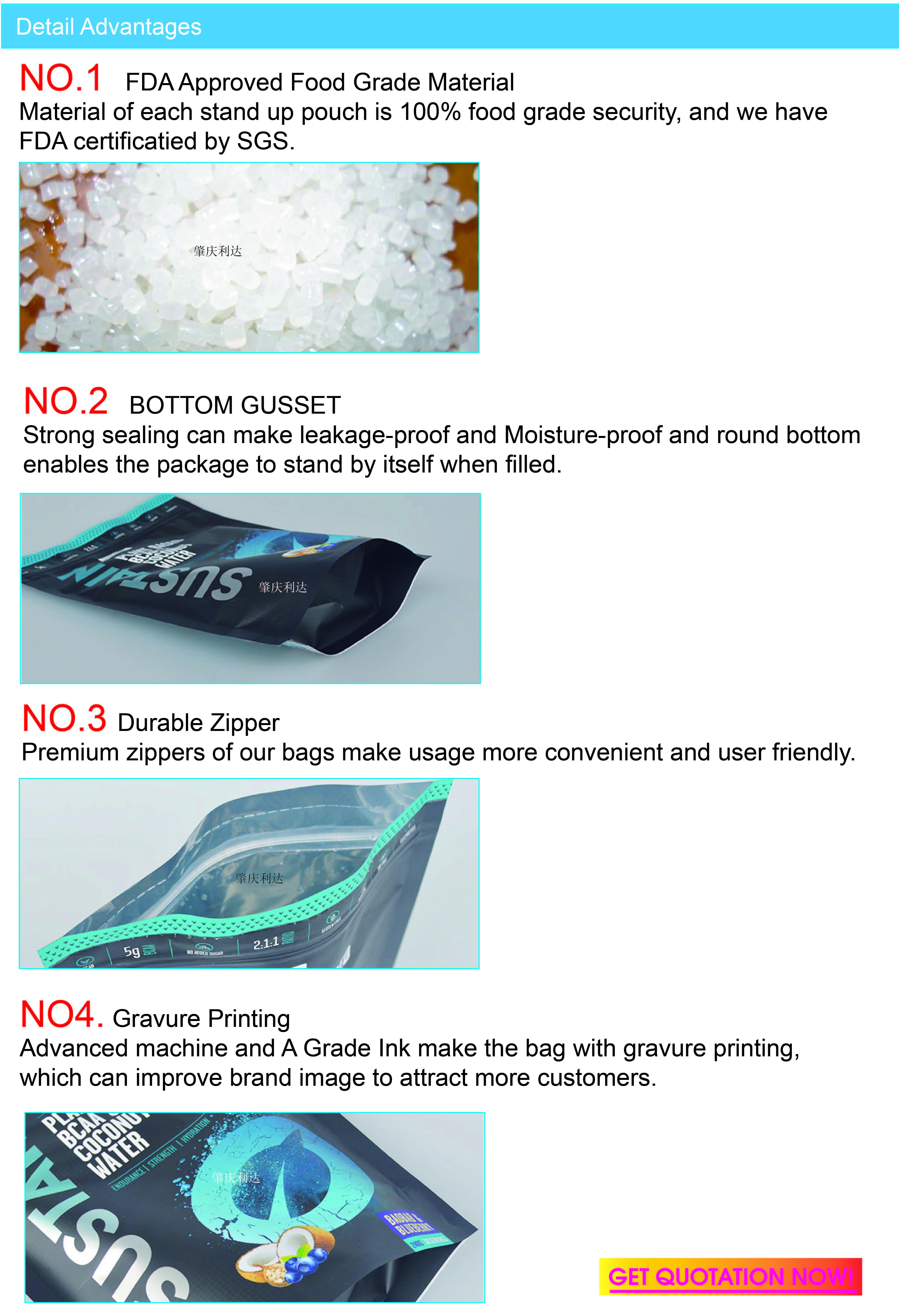 Tùy chỉnh chân không con dấu nhựa aluminum foil trà túi