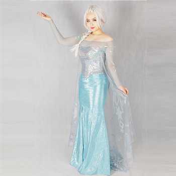 Frozen 1 Princess Elsa Ice Queen Adult Womencosplay Costume Set (Dress Set)