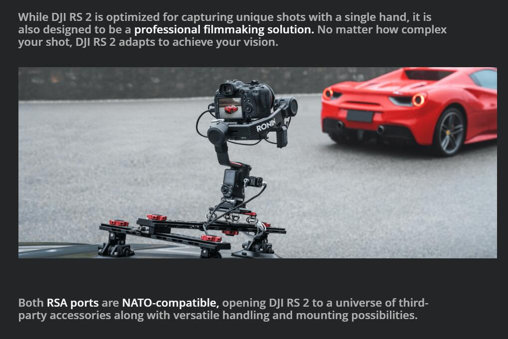 DJI brand new RS 2 advanced camera gimbal Carbon Fiber Construction RS2 with Full-Color Touchscreen Ronin S2 4.5KG payload