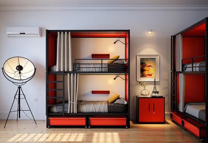 Hostel Steel New Design Capsule Bunk Bed Hotel Furniture queen size bed for hotel bedroom