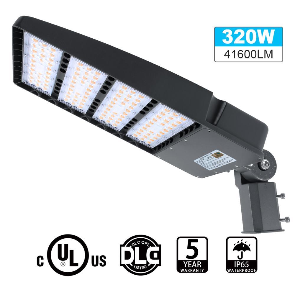 DLC 300W LED Shoebox Light Slip fitter Replace 1500W HPS Parking Lot Light 5700K