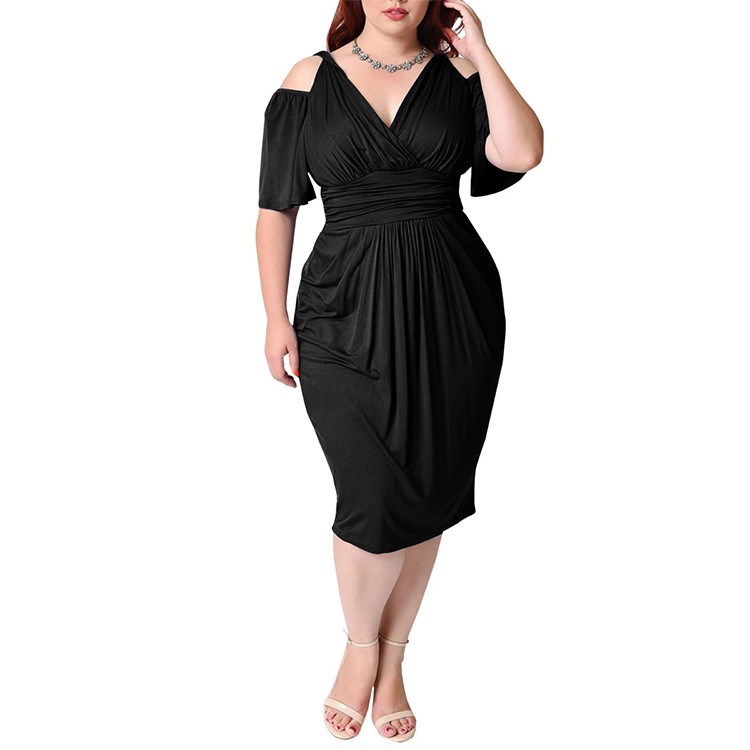 Wholesale Ladies Elegant Plus Size Off Shoulder Casual <strong>Dress</strong> Pleated Loose Daily <strong>Dress</strong> Plus Size Women