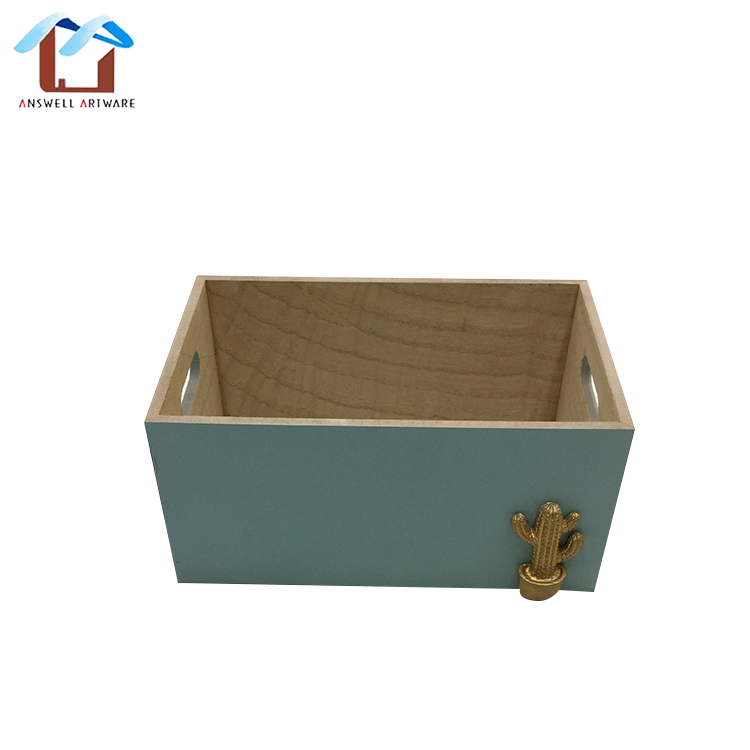 New nice home ornaments wooden crates storage desk organizer rectangle shape wood box