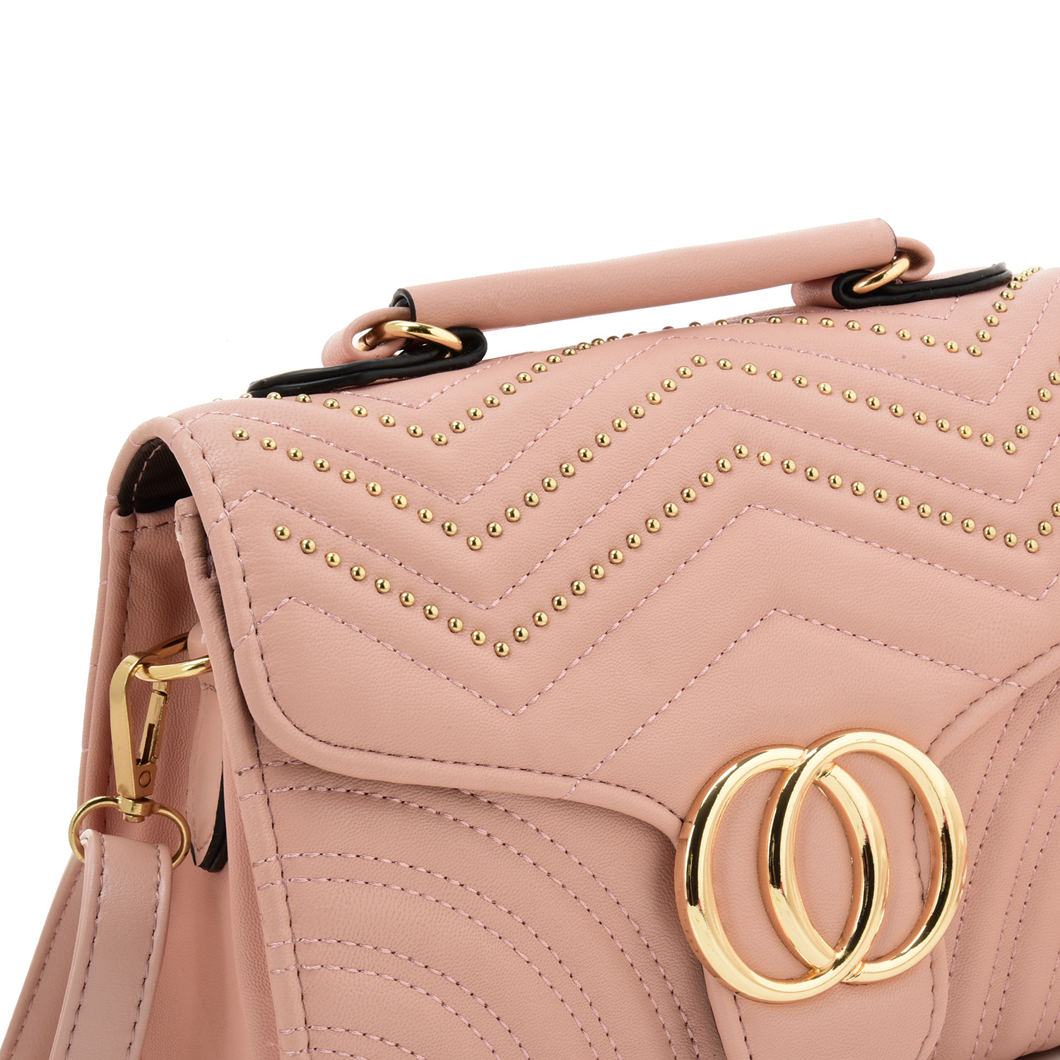 Competitive price low MOQ PU PVC leather black pink rivet women crossbody bags