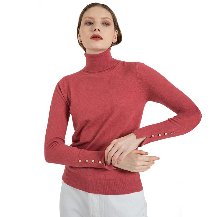 Top Hit Rates Product High Quality Wholesale Red Knitted Crew Neck Winter Sweater Women