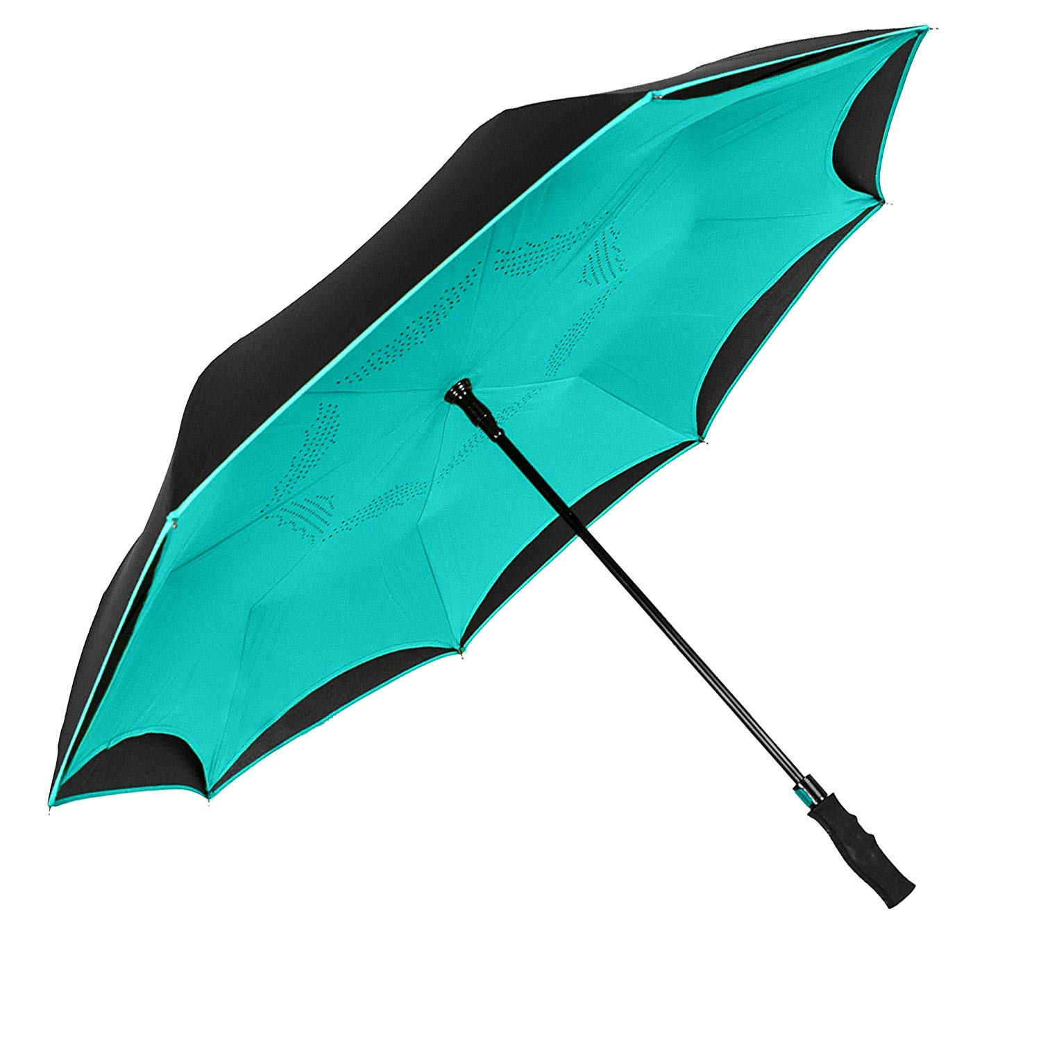 Wholesale double canopy inverted umbrella reverse car umbrella with long easy gripped handle