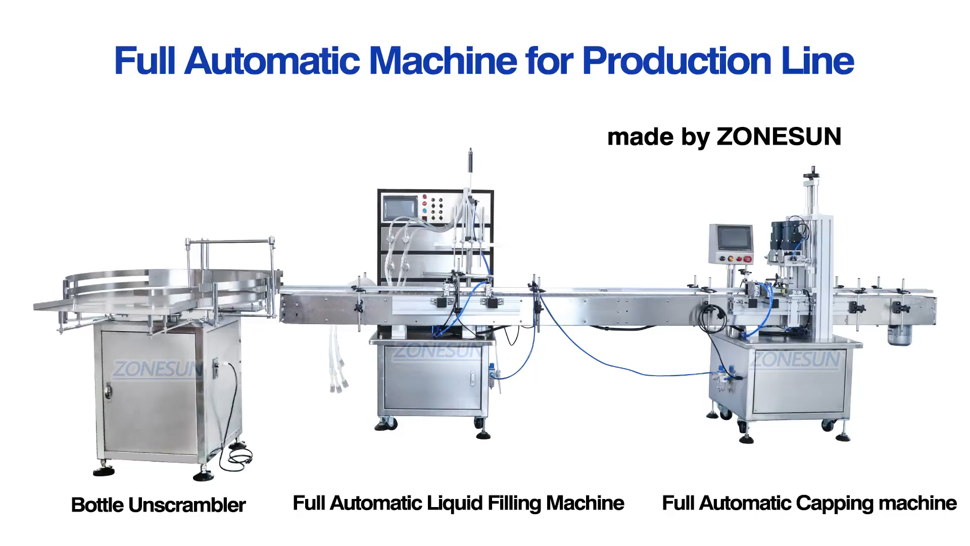 ZONESUN Juice Milk Automatic Small Round Bottle Water Liquid Hand Sanitizer Filling And Capping Packaging Machine