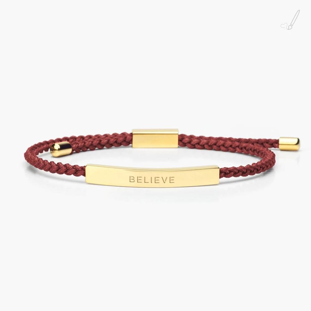 Custom Logo Khắc Cong Bar Thép Không Gỉ Bracelet Điều Chỉnh Handmade Braided Cord Bracelet Vòng Đeo Tay Tình Bạn