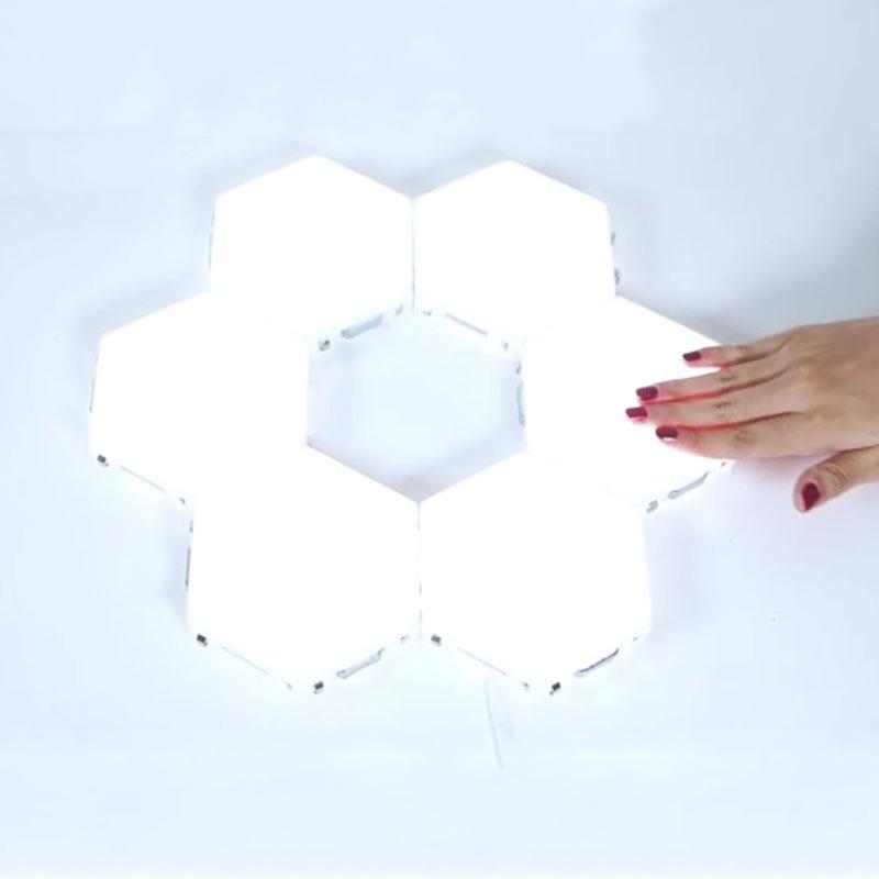 Lâmpadas hexagonais led luz quantum iluminação sensível ao toque modular hexagons magnéticos decoração de parede led luz noturna
