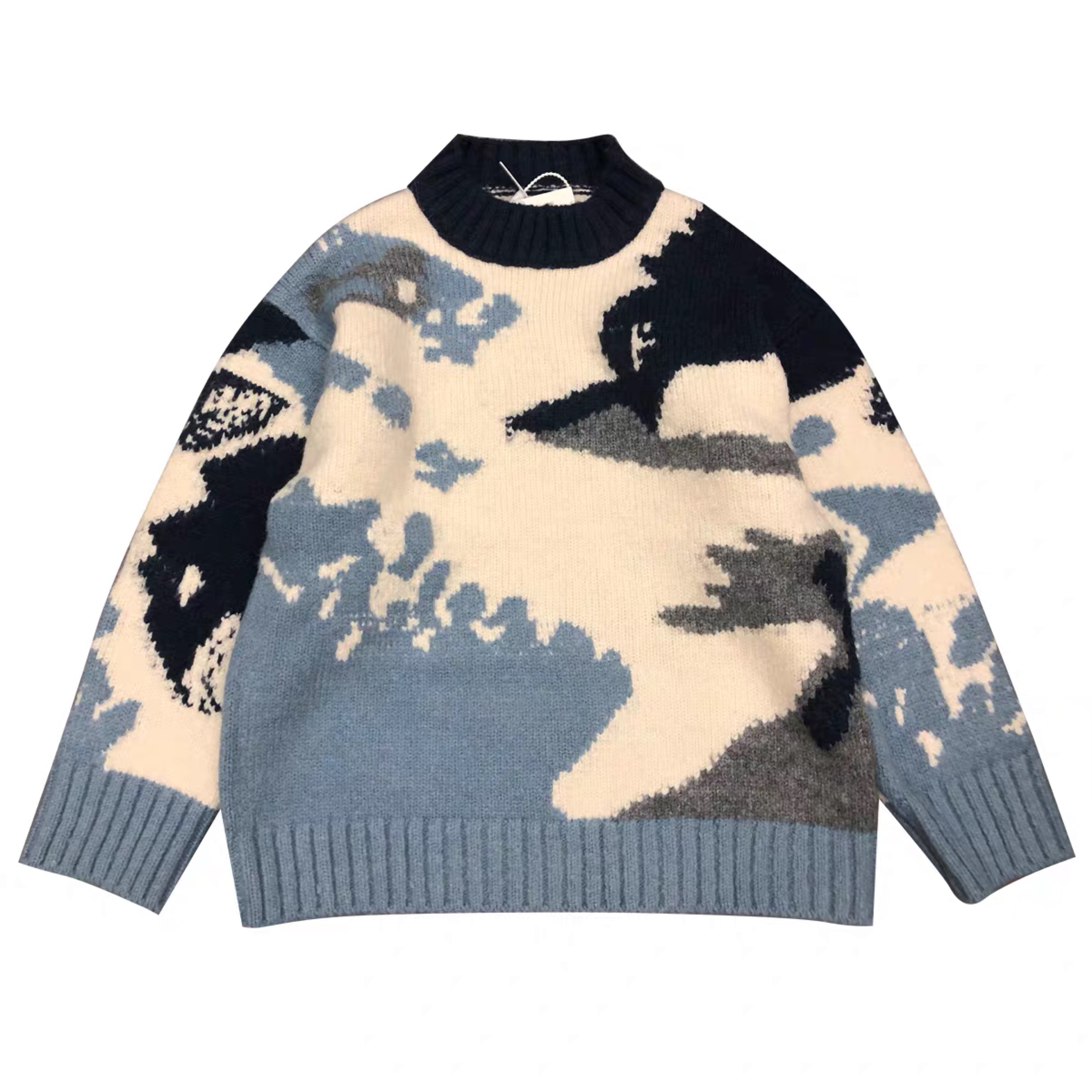 colorblock knit sweater unisex jacquard pullover