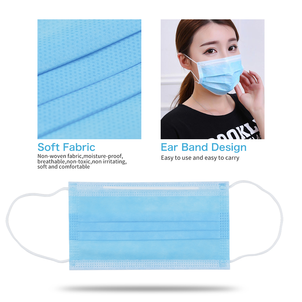 50pc Hot Sale Blue Disposable Non-Woven Dustproof Face Mouth Mask Anti Fog & Haze Breathing Adult Unisex Protection Safety Masks