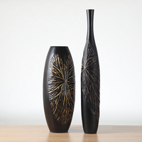 Hot Sale embossed textured Black Resin Vase For Home Decor