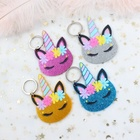 3.0inches Acrylic Unicorn Keychain Horn Eye Floral Unicorn Keychain With Ring Mixed Glitter Laser Cutout 76mm-KC022