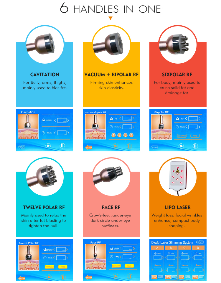 Multifunctional 6 in 1 portable face lift weight loss radio frequency vacuum fat body slimming 80k cavitation machine