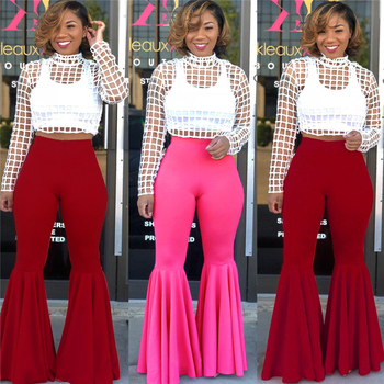 Chic Vintage Ruffles Trousers Women High Waist Hippie Slim Gypsy Bell Bottom Pants Female Flare Fashion Streetwear