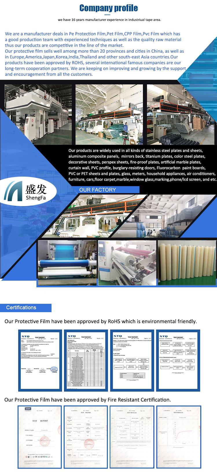 Fabrik Direkte Konstruktion Blau Schutz Film für Windows