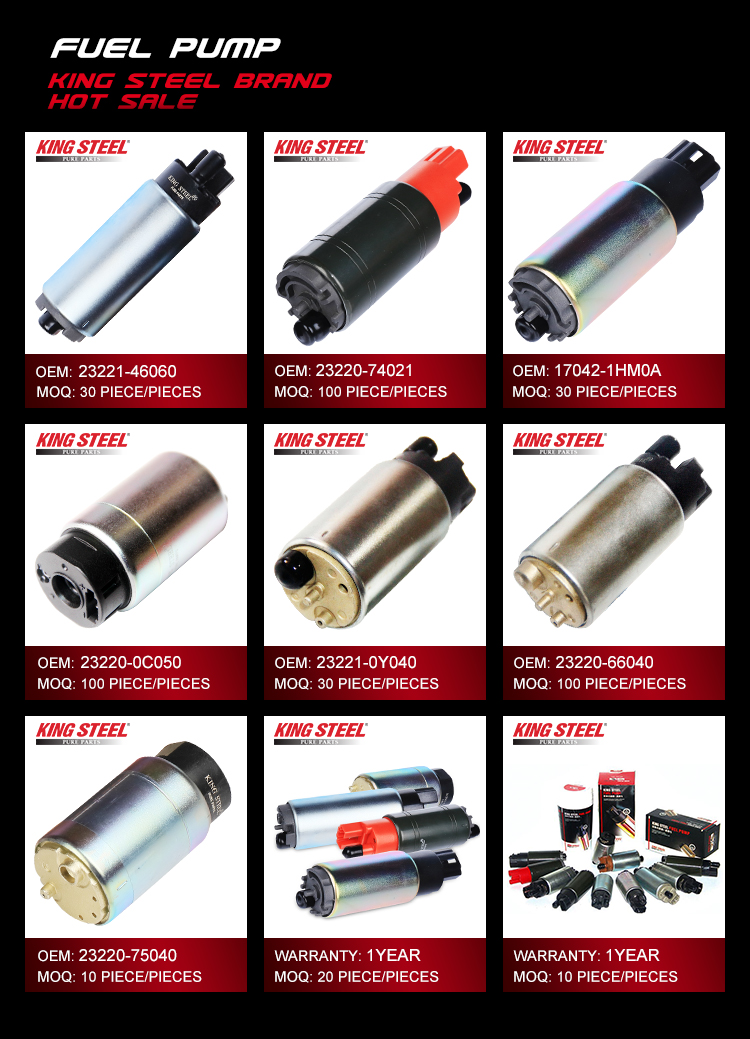 Kingsteel car auto parts, 12 volt high pressure electric gasoline fuel pump for toyota nissan hyundai