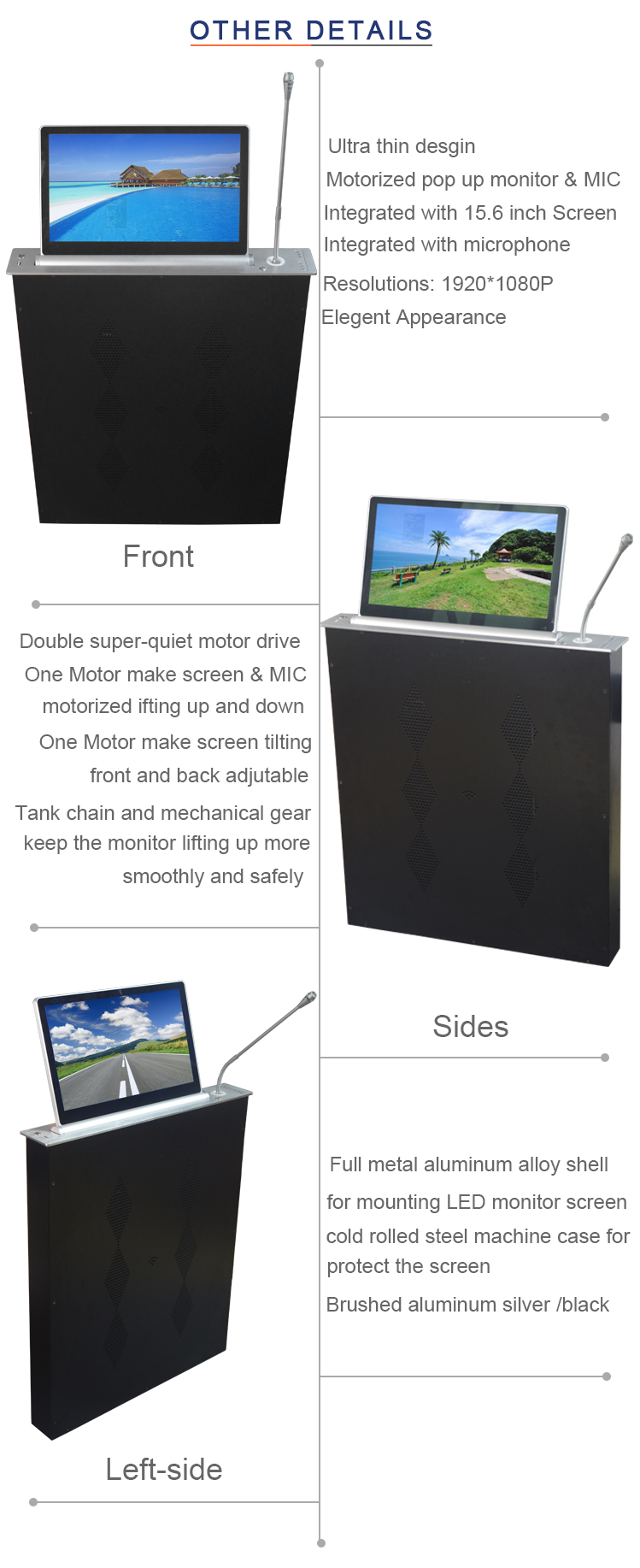 Tabletop LCD Monitor Lift Integrated with motorized microphone For Conference System