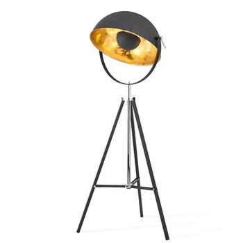 Modern nordic designer vintage lighting metal stand light black gold standing sputnik satellite tripod floor lamp with gold leaf
