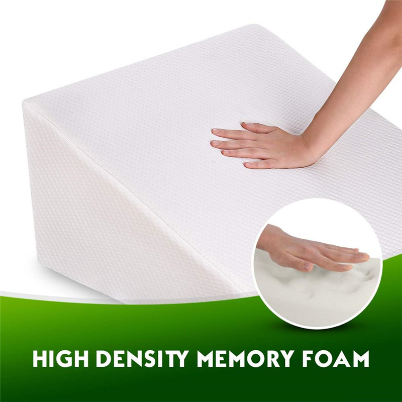 Bed Wedge Pillow with Memory Foam Top Ideal for Comfortable Sleeping, Alleviates Neck and Back Pain Acid Reflux