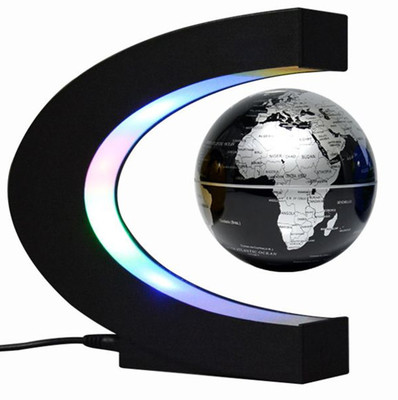 Creative Anti-gravity World Map C-shaped 3-inch Maglev Globe with LED lights