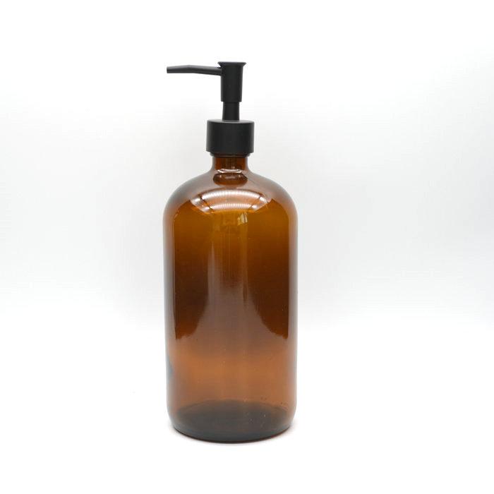 Pump dispenser glass bottle 1000ml 1 liter amber boston glass