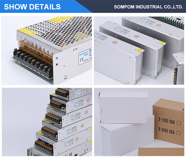 Sompom 85-264V AC input to DC 120W switch power supply 3V 40a adjustable output LED transformer