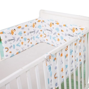 Foldable cotton muslin breathable baby nursery cot bedding safety crib bumper pads