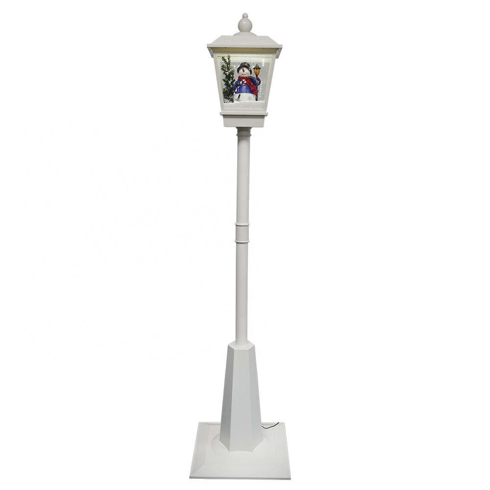 Wholesale Xmas snowman scene Stree lamp post Led animated musical Christmas light with falling snow