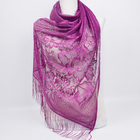 Elegant Oblong Fringed Floral Jacquard Lace Muslim Hijab Shawl Scarf for Women