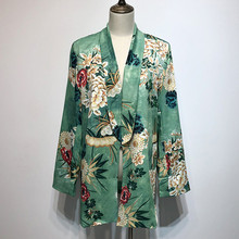 Женский блейзер с винтажным принтом CHICEVER, туника с отложным воротником и длинным рукавом, на шнуровке, модная одежда популярных цветов, 2020(Китай)