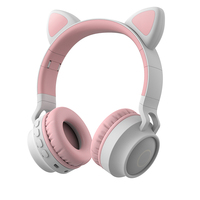 Multifunction kids led cat ear wireless headphones support tf card